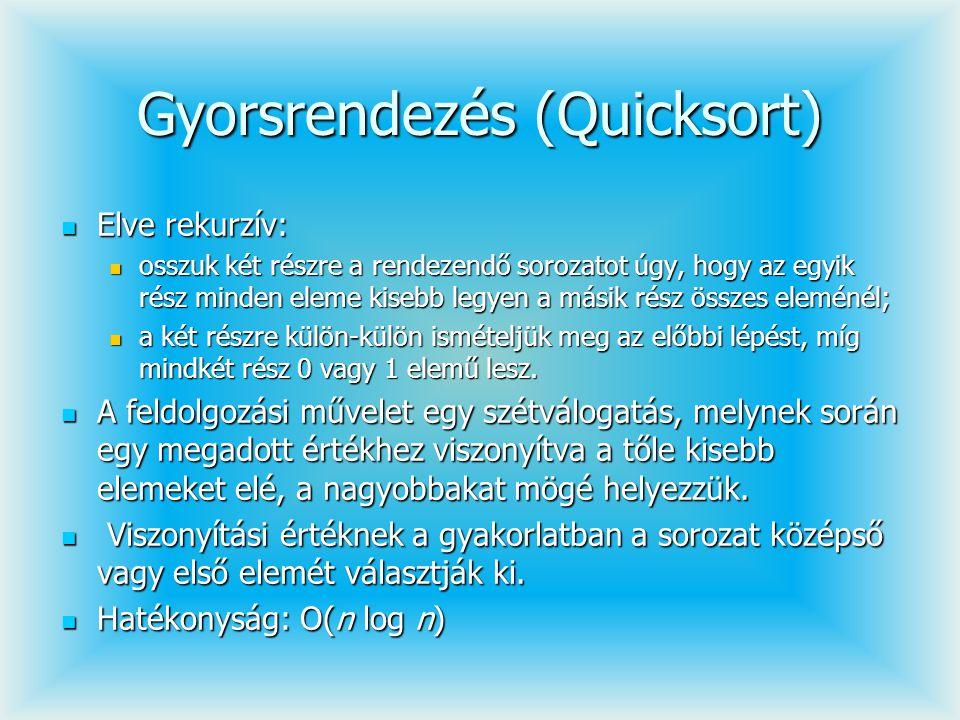 Gyorsrendezés (Quicksort) Elve rekurzív: Elve rekurzív: osszuk két részre a rendezendő sorozatot úgy, hogy az egyik rész minden eleme kisebb legyen a