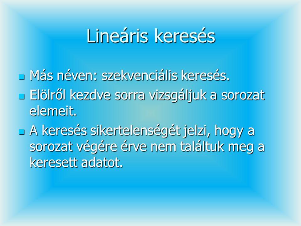 Lineáris keresés Más néven: szekvenciális keresés. Más néven: szekvenciális keresés. Elölről kezdve sorra vizsgáljuk a sorozat elemeit. Elölről kezdve