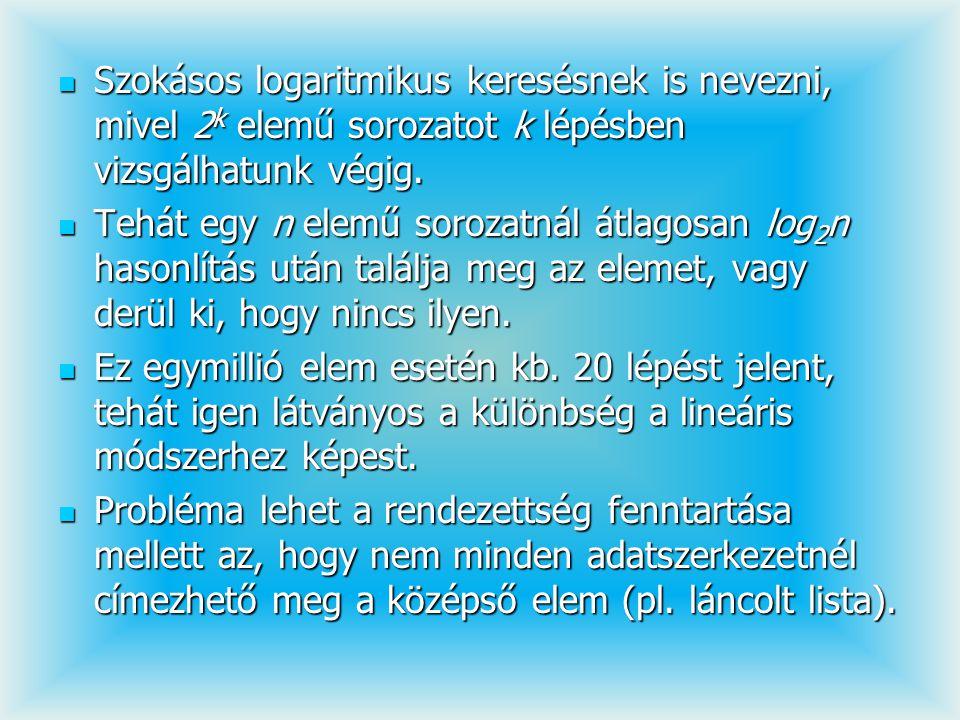 Szokásos logaritmikus keresésnek is nevezni, mivel 2 k elemű sorozatot k lépésben vizsgálhatunk végig. Szokásos logaritmikus keresésnek is nevezni, mi
