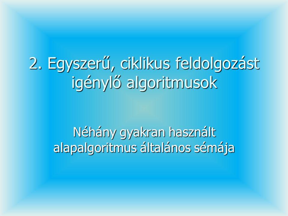 2. Egyszerű, ciklikus feldolgozást igénylő algoritmusok Néhány gyakran használt alapalgoritmus általános sémája