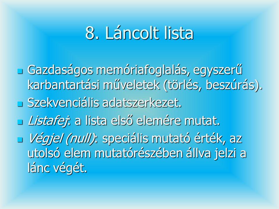 8. Láncolt lista Gazdaságos memóriafoglalás, egyszerű karbantartási műveletek (törlés, beszúrás). Gazdaságos memóriafoglalás, egyszerű karbantartási m