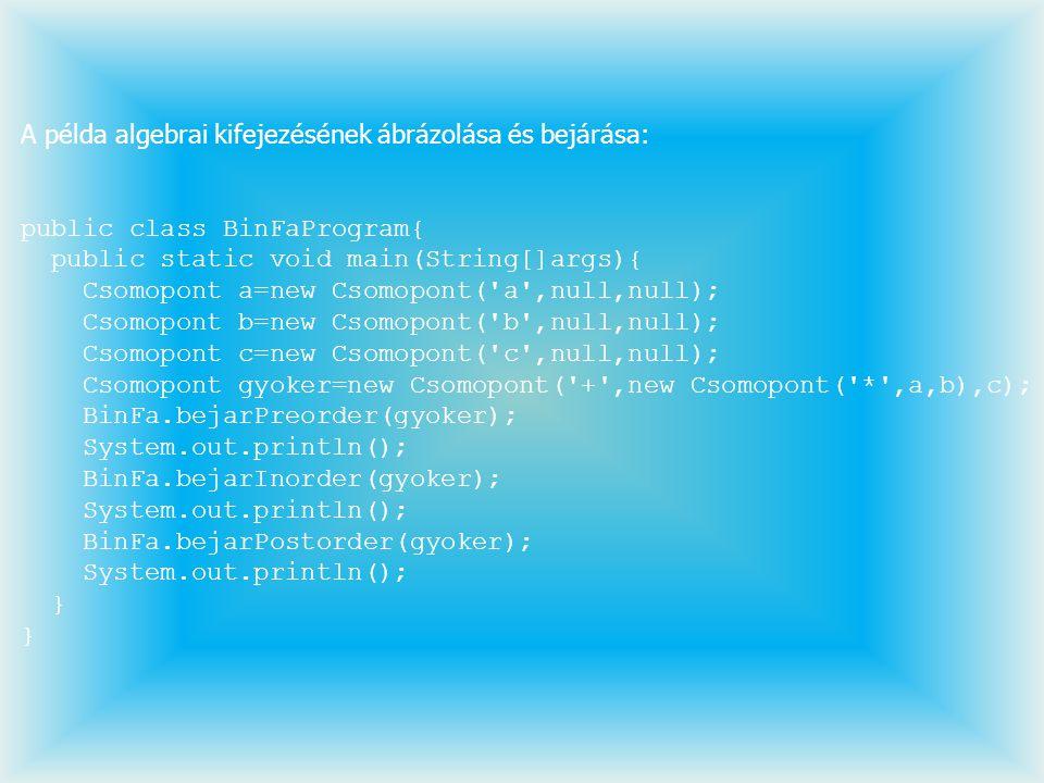 A példa algebrai kifejezésének ábrázolása és bejárása: public class BinFaProgram{ public static void main(String[]args){ Csomopont a=new Csomopont('a'
