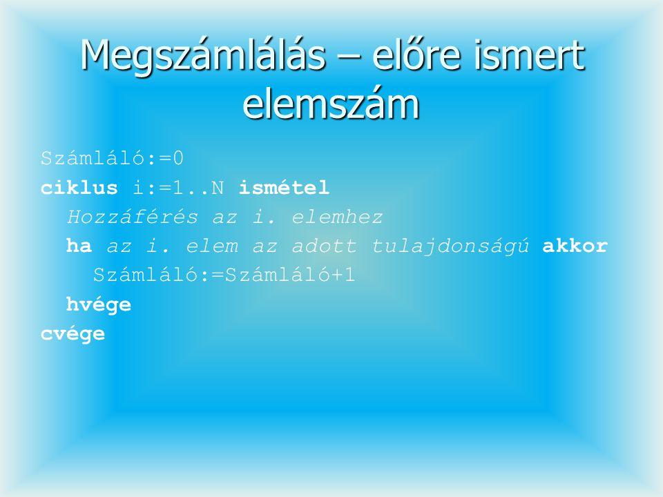 Megszámlálás – előre ismert elemszám Számláló:=0 ciklus i:=1..N ismétel Hozzáférés az i. elemhez ha az i. elem az adott tulajdonságú akkor Számláló:=S