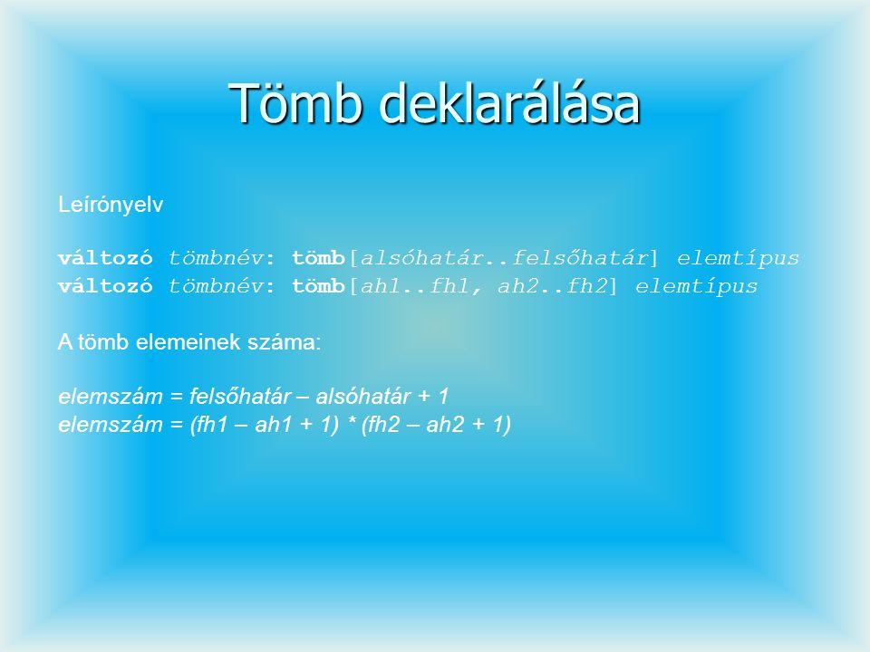 Tömb deklarálása Leírónyelv változó tömbnév: tömb[alsóhatár..felsőhatár] elemtípus változó tömbnév: tömb[ah1..fh1, ah2..fh2] elemtípus A tömb elemeine