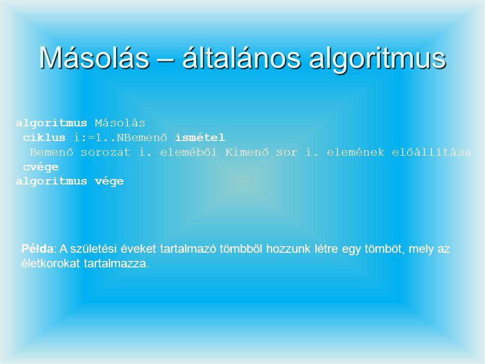 Másolás – általános algoritmus algoritmus Másolás ciklus i:=1..NBemenő ismétel Bemenő sorozat i. eleméből Kimenő sor i. elemének előállítása cvége alg