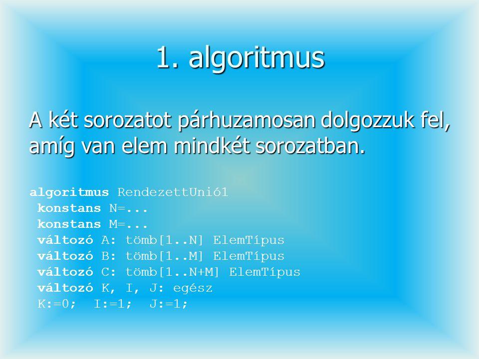1. algoritmus A két sorozatot párhuzamosan dolgozzuk fel, amíg van elem mindkét sorozatban. algoritmus RendezettUnió1 konstans N=... konstans M=... vá