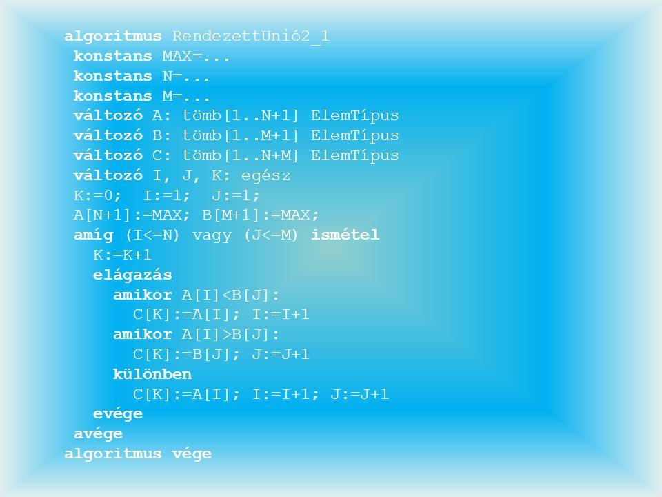 algoritmus RendezettUnió2_1 konstans MAX=... konstans N=... konstans M=... változó A: tömb[1..N+1] ElemTípus változó B: tömb[1..M+1] ElemTípus változó