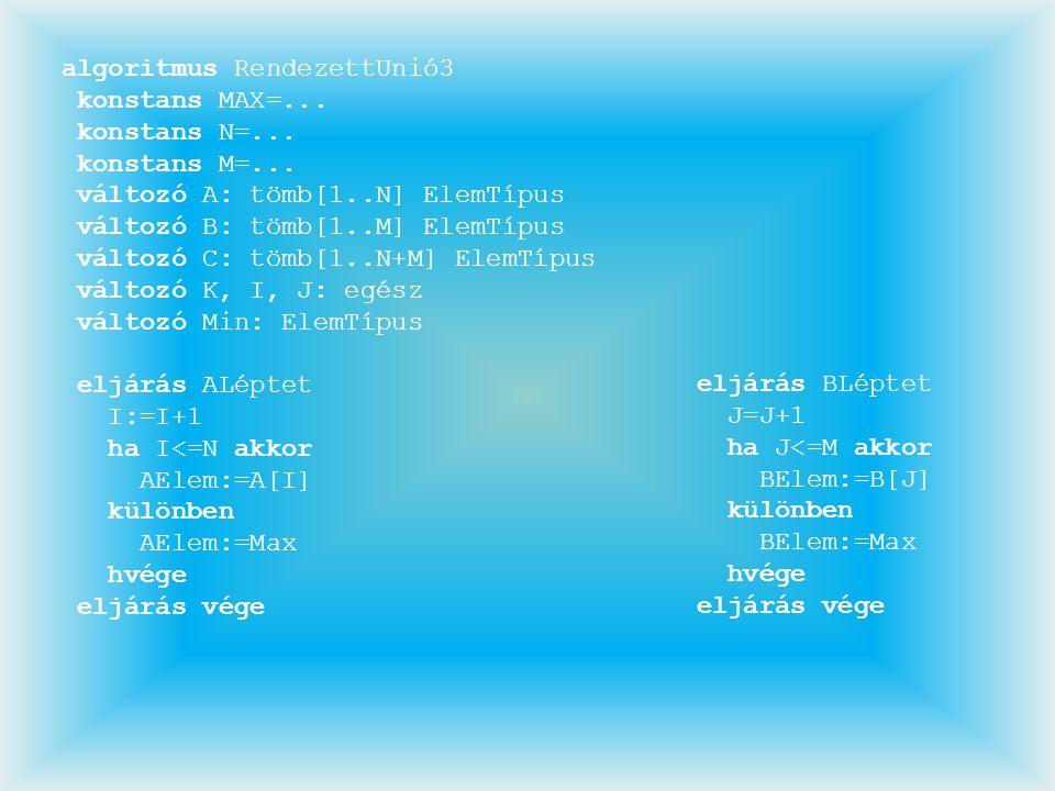 algoritmus RendezettUnió3 konstans MAX=... konstans N=... konstans M=... változó A: tömb[1..N] ElemTípus változó B: tömb[1..M] ElemTípus változó C: tö