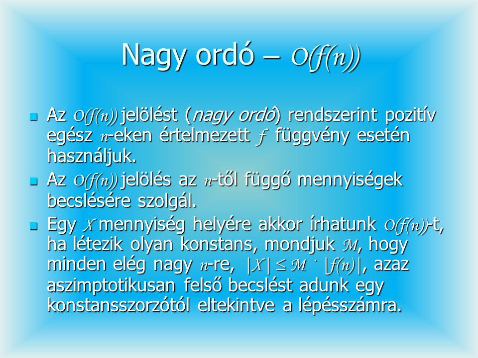 Nagy ordó – O(f(n)) Az O(f(n)) jelölést (nagy ordó) rendszerint pozitív egész n -eken értelmezett f függvény esetén használjuk. Az O(f(n)) jelölést (n