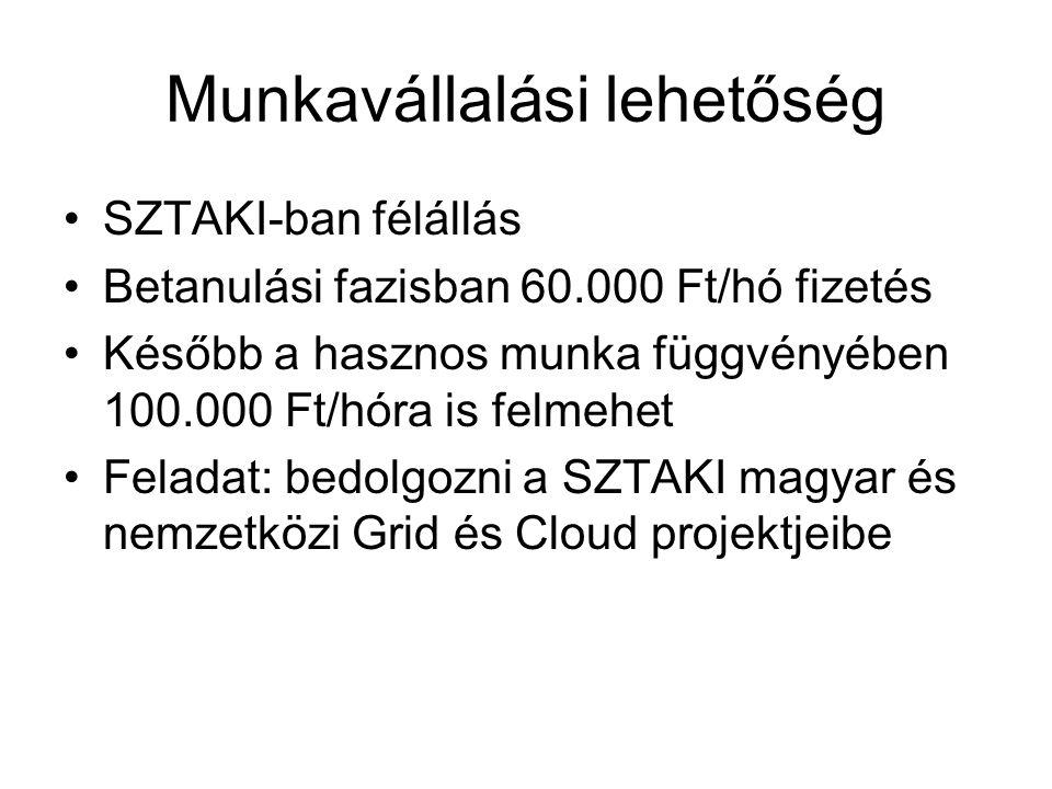 Munkavállalási lehetőség SZTAKI-ban félállás Betanulási fazisban 60.000 Ft/hó fizetés Később a hasznos munka függvényében 100.000 Ft/hóra is felmehet Feladat: bedolgozni a SZTAKI magyar és nemzetközi Grid és Cloud projektjeibe