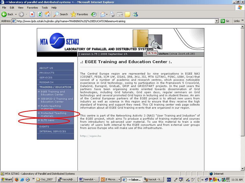 Belépés a Protected Teaching Material web lapra student xstudent Belepes a ZH eredmenyekhez: –ELTE News –student –zh_student