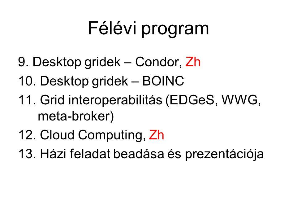 Félévi program 9. Desktop gridek – Condor, Zh 10.