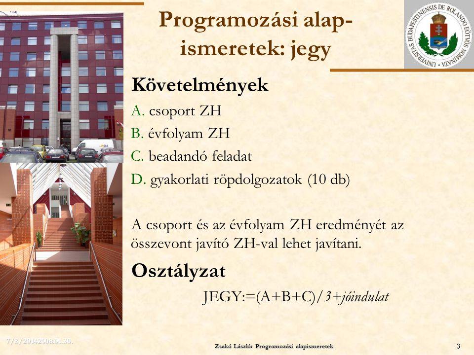 ELTE Zsakó László: Programozási alapismeretek3 7/8/20142008.01.30. Programozási alap- ismeretek: jegy Követelmények A. csoport ZH B. évfolyam ZH C. be