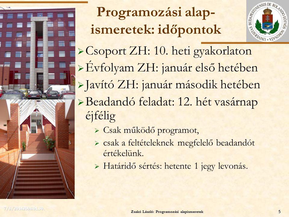 ELTE Zsakó László: Programozási alapismeretek5 7/8/20142008.01.30. Programozási alap- ismeretek: időpontok  Csoport ZH: 10. heti gyakorlaton  Évfoly
