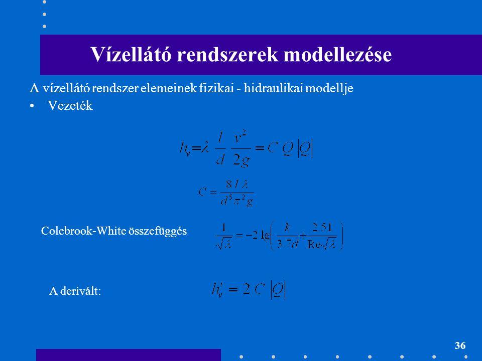 36 Vízellátó rendszerek modellezése A vízellátó rendszer elemeinek fizikai - hidraulikai modellje Vezeték Colebrook-White összefüggés A derivált: