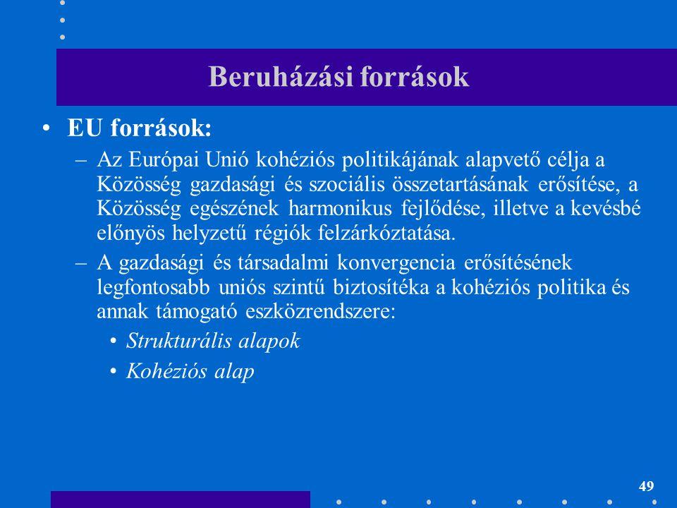 49 Beruházási források EU források: –Az Európai Unió kohéziós politikájának alapvető célja a Közösség gazdasági és szociális összetartásának erősítése