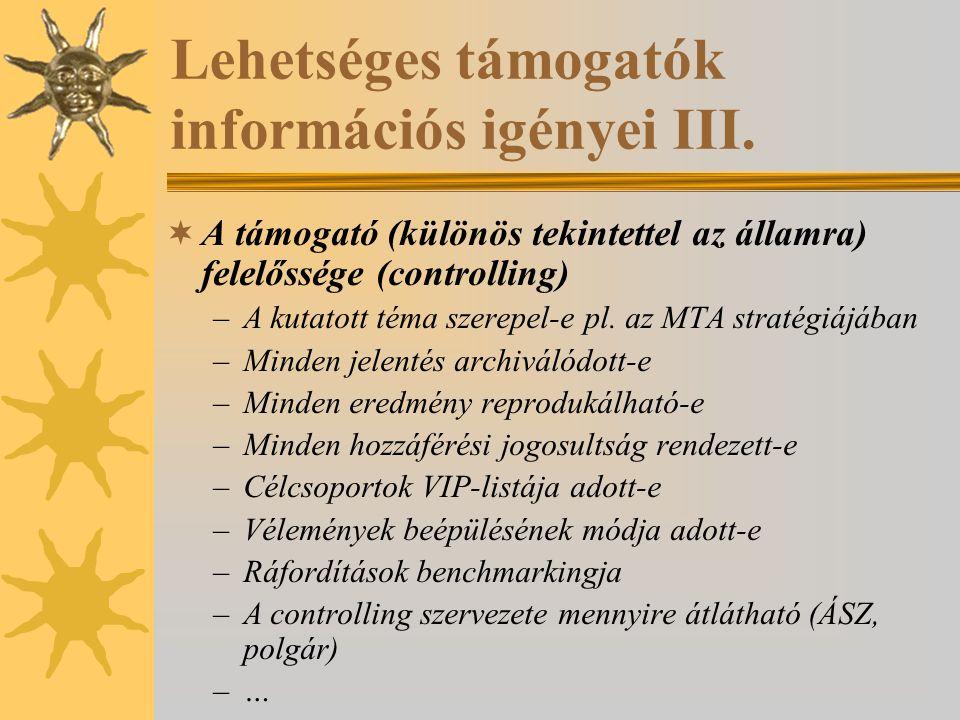 Lehetséges támogatók információs igényei III.