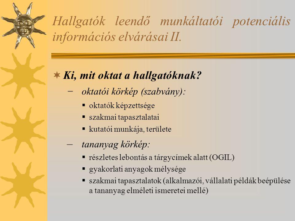 Hallgatók leendő munkáltatói potenciális információs elvárásai II.