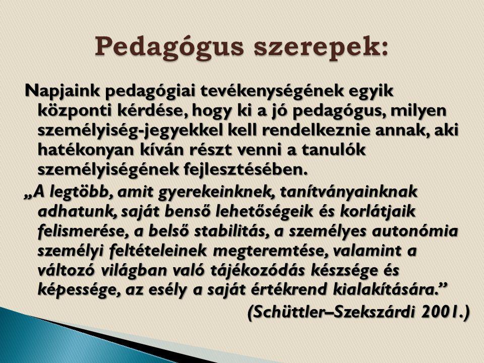 Napjaink pedagógiai tevékenységének egyik központi kérdése, hogy ki a jó pedagógus, milyen személyiség-jegyekkel kell rendelkeznie annak, aki hatékonyan kíván részt venni a tanulók személyiségének fejlesztésében.