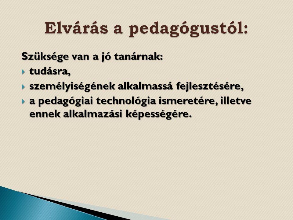 Szüksége van a jó tanárnak:  tudásra,  személyiségének alkalmassá fejlesztésére,  a pedagógiai technológia ismeretére, illetve ennek alkalmazási képességére.