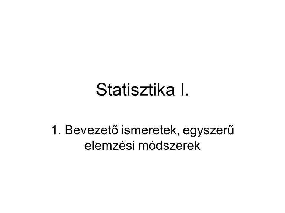 Statisztika I. 1. Bevezető ismeretek, egyszerű elemzési módszerek