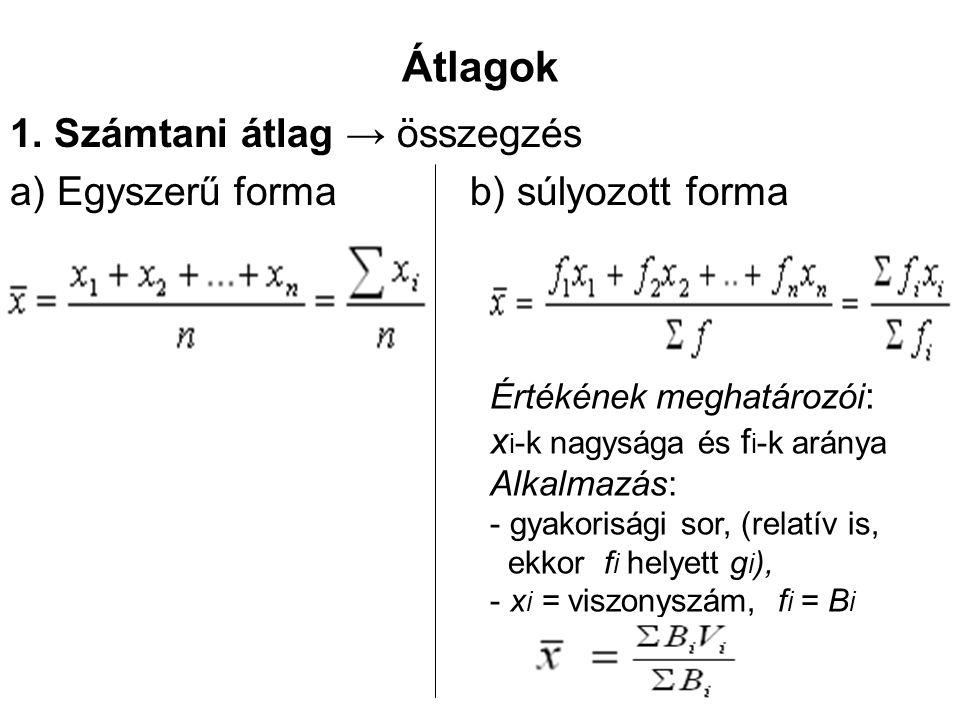 Átlagok 1. Számtani átlag → összegzés a) Egyszerű forma b) súlyozott forma Értékének meghatározói : x i -k nagysága és f i -k aránya Alkalmazás: - gya