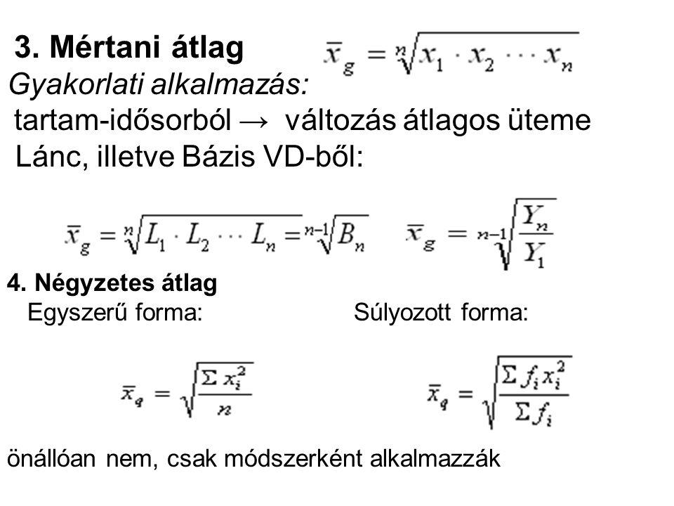 3. Mértani átlag Gyakorlati alkalmazás: tartam-idősorból → változás átlagos üteme Lánc, illetve Bázis VD-ből: 4. Négyzetes átlag Egyszerű forma: Súlyo