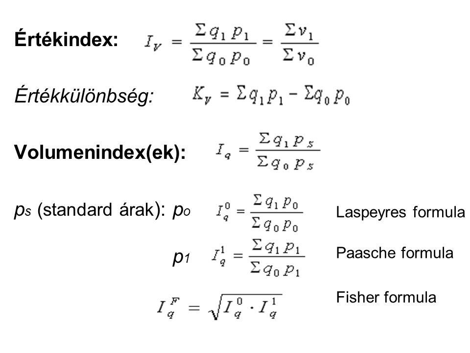 Értékindex: Értékkülönbség: Volumenindex(ek): p s (standard árak ): p o p 1 Laspeyres formula Paasche formula Fisher formula