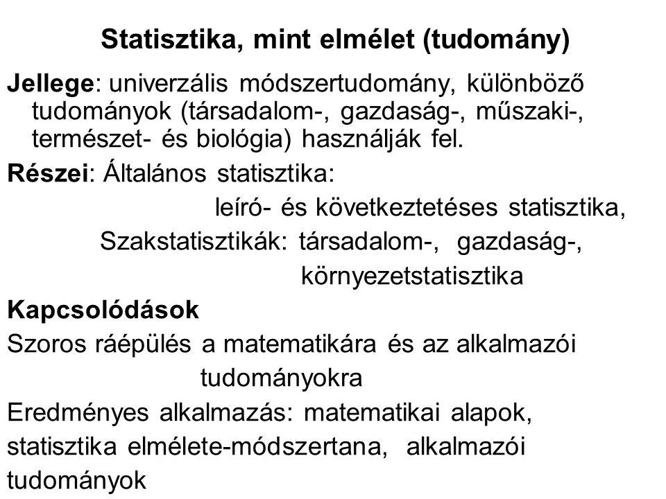 Statisztika, mint elmélet (tudomány) Jellege: univerzális módszertudomány, különböző tudományok (társadalom-, gazdaság-, műszaki-, természet- és bioló
