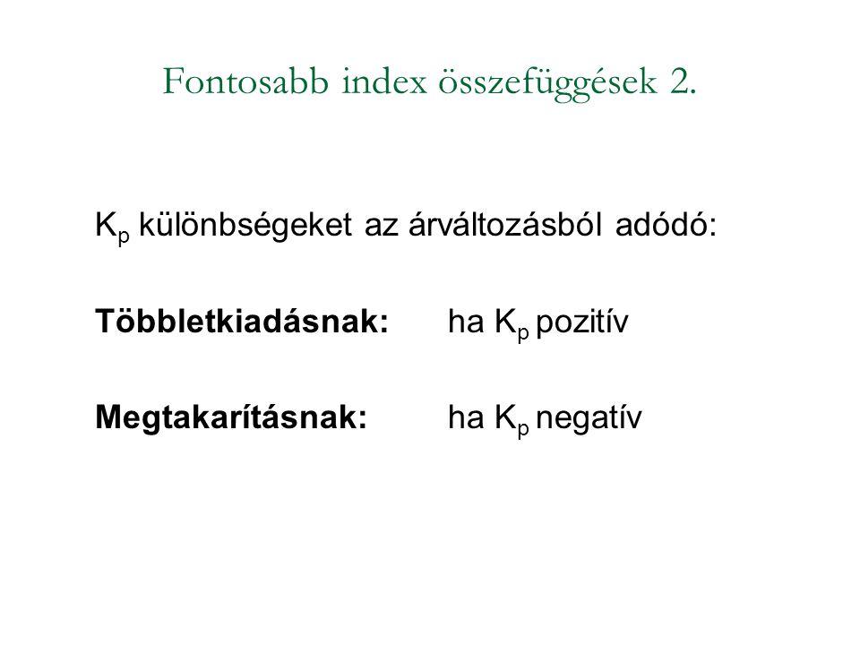 Fontosabb index összefüggések 2. K p különbségeket az árváltozásból adódó: Többletkiadásnak: ha K p pozitív Megtakarításnak: ha K p negatív
