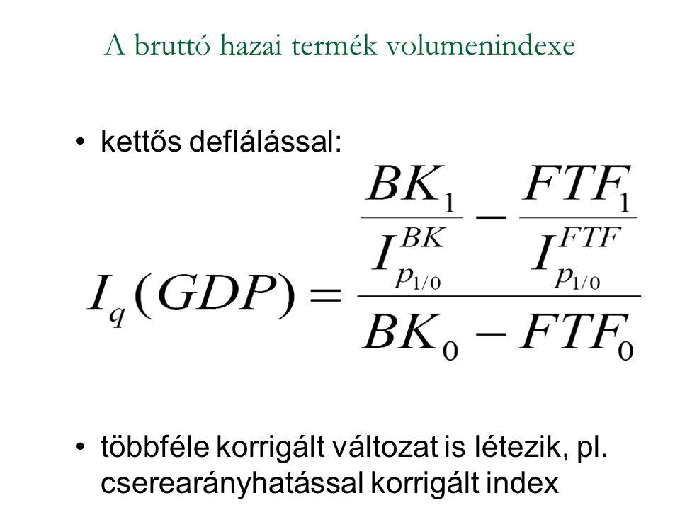 A bruttó hazai termék volumenindexe kettős deflálással: többféle korrigált változat is létezik, pl. cserearányhatással korrigált index