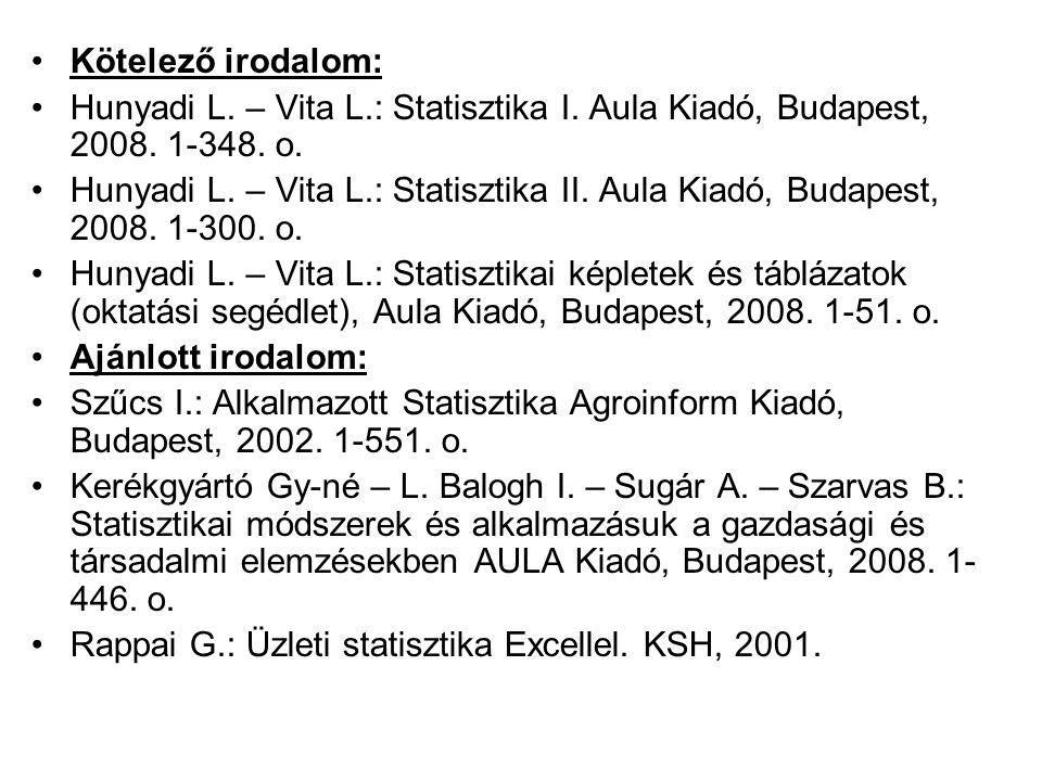 Kötelező irodalom: Hunyadi L. – Vita L.: Statisztika I. Aula Kiadó, Budapest, 2008. 1-348. o. Hunyadi L. – Vita L.: Statisztika II. Aula Kiadó, Budape