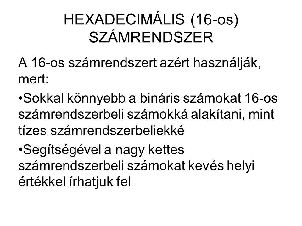 HEXADECIMÁLIS (16-os) SZÁMRENDSZER A 16-os számrendszert azért használják, mert: Sokkal könnyebb a bináris számokat 16-os számrendszerbeli számokká al