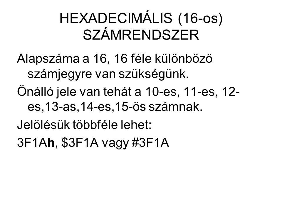 HEXADECIMÁLIS (16-os) SZÁMRENDSZER Alapszáma a 16, 16 féle különböző számjegyre van szükségünk. Önálló jele van tehát a 10-es, 11-es, 12- es,13-as,14-