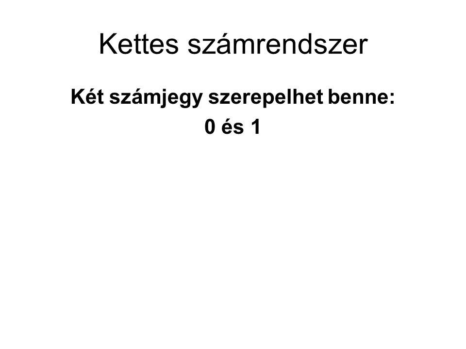 Kettes számrendszer Két számjegy szerepelhet benne: 0 és 1