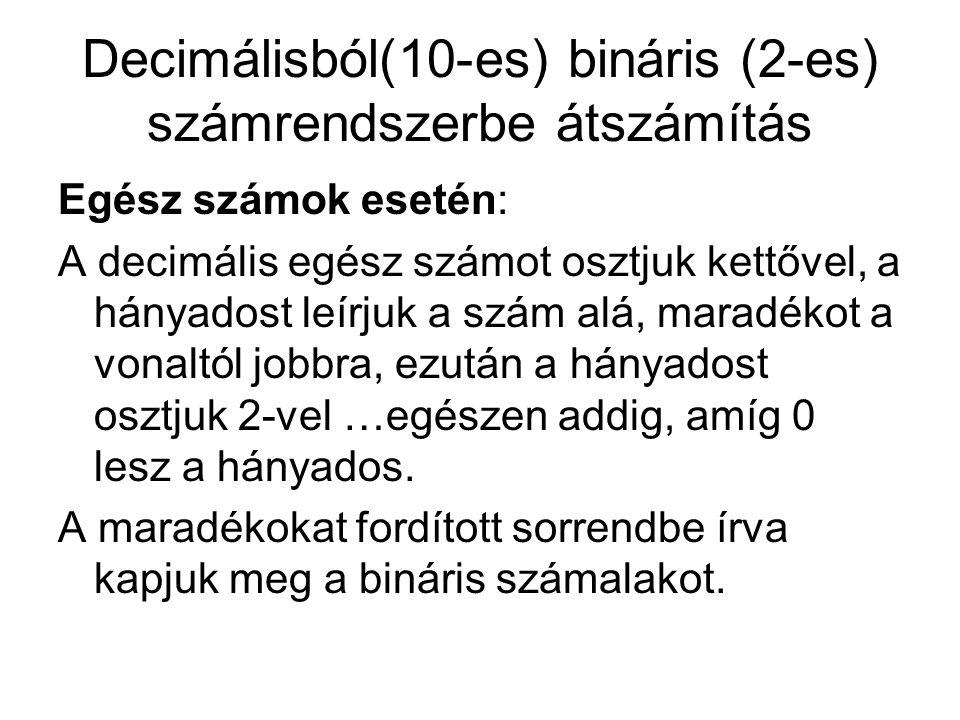 Decimálisból(10-es) bináris (2-es) számrendszerbe átszámítás Példa: 0 11 02 15 111 022 22 = 10110 2