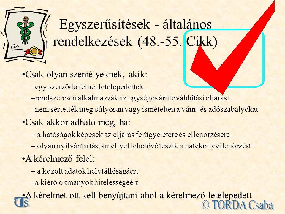 Egyszerűsítések - általános rendelkezések (48.-55.