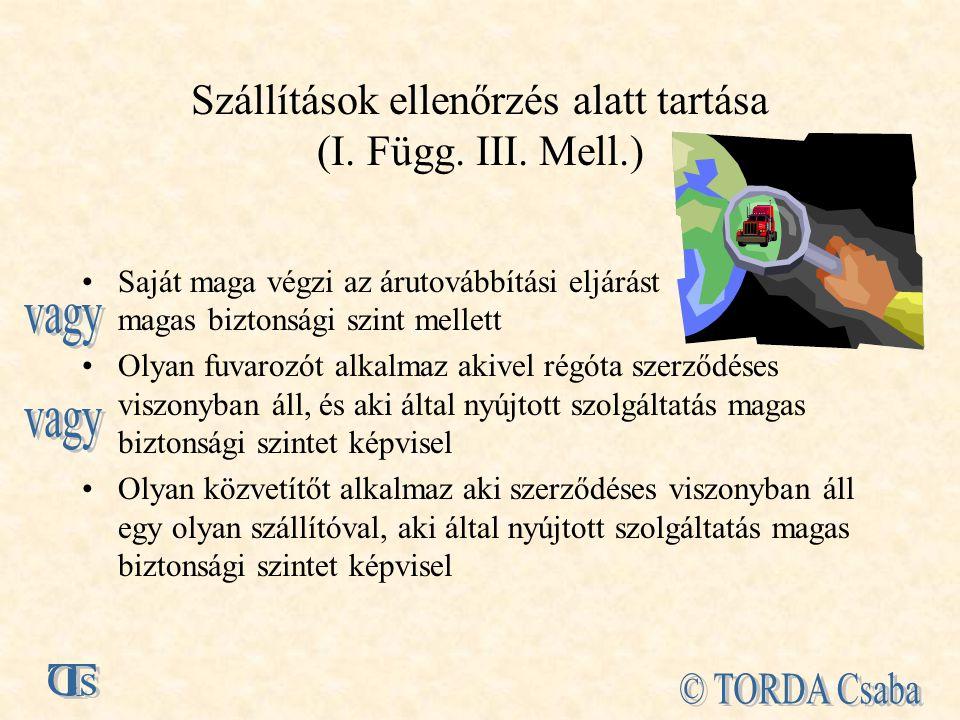 Szállítások ellenőrzés alatt tartása (I.Függ. III.