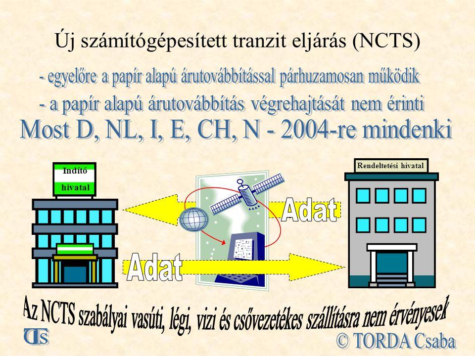 Új számítógépesített tranzit eljárás (NCTS) Rendeltetési hivatal Indító hivatal