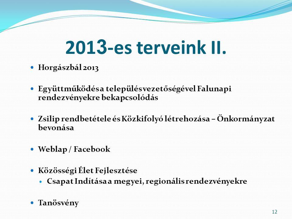 201 3 -es terveink II. Horgászbál 2013 Együttműködés a település vezetőségével Falunapi rendezvényekre bekapcsolódás Zsilip rendbetétele és Közkifolyó