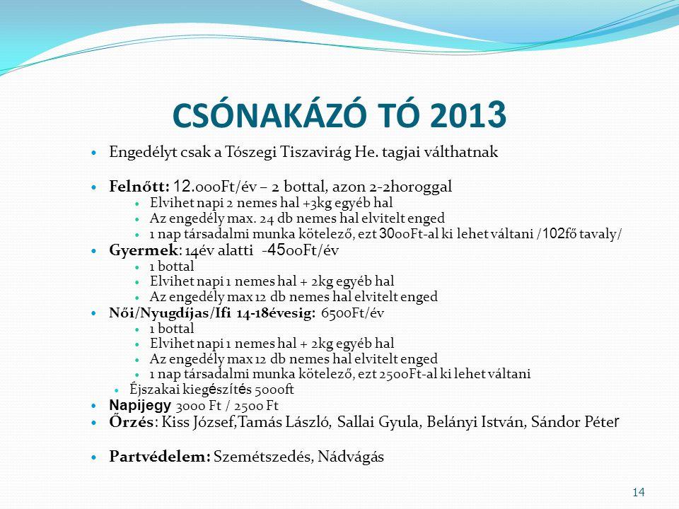 CSÓNAKÁZÓ TÓ 201 3 Engedélyt csak a Tószegi Tiszavirág He.