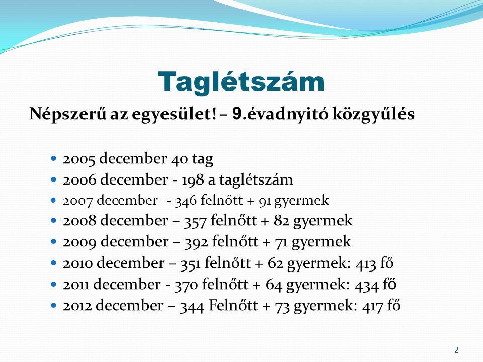 Taglétszám Népszerű az egyesület! – 9.évadnyitó közgyűlés 2005 december 40 tag 2006 december - 198 a taglétszám 2007 december - 346 felnőtt + 91 gyerm
