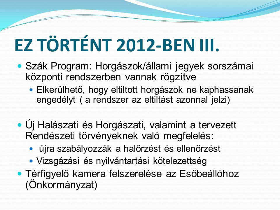 EZ TÖRTÉNT 2012-BEN III. Szák Program: Horgászok/állami jegyek sorszámai központi rendszerben vannak rögzítve Elkerülhető, hogy eltiltott horgászok ne