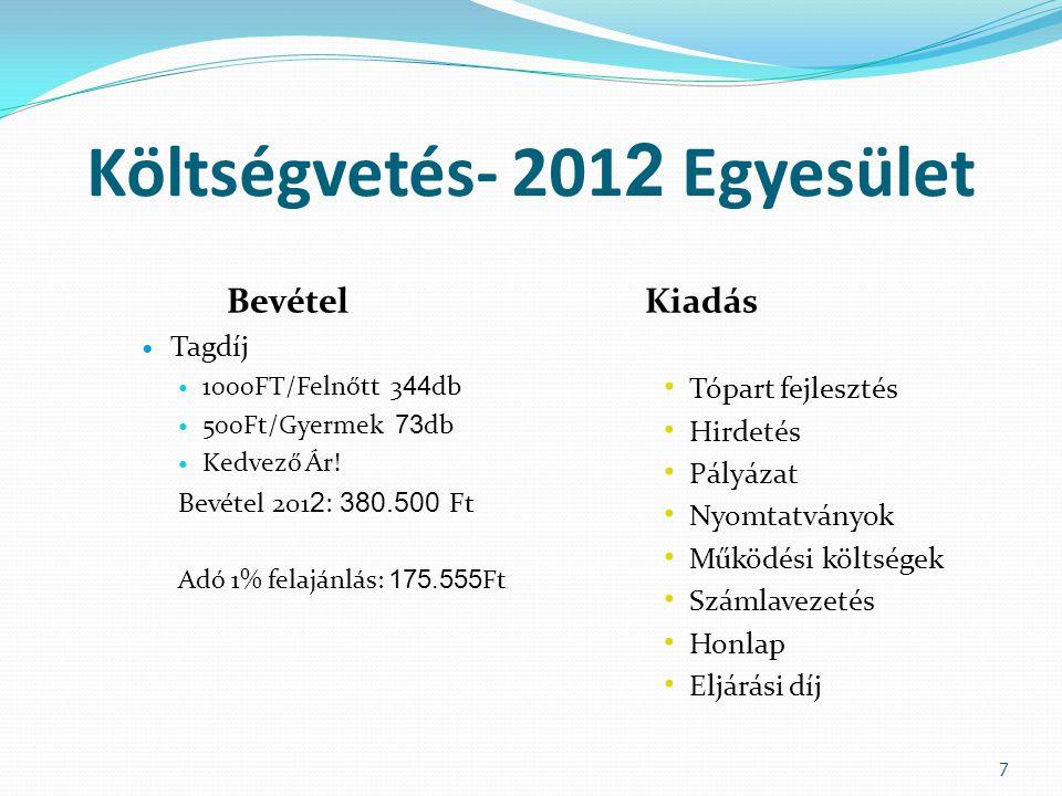Költségvetés – Csónakázó Tó 2012 Bevétel Kiadás Engedély- Napijegy 114 db felnőtt, 53 db gyermek (14évesig),4 db kedvezményes, é jszaki 27 db Napijegy 223 db 2500Ft-os, 167 db 2000Ft-os, gyermek napijegy 45 db.