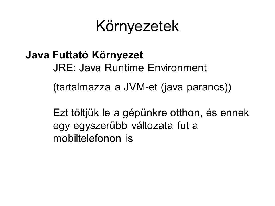 Környezetek Java Futtató Környezet JRE: Java Runtime Environment (tartalmazza a JVM-et (java parancs)) Ezt töltjük le a gépünkre otthon, és ennek egy