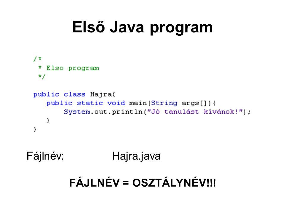 Első Java program Fájlnév:Hajra.java FÁJLNÉV = OSZTÁLYNÉV!!!