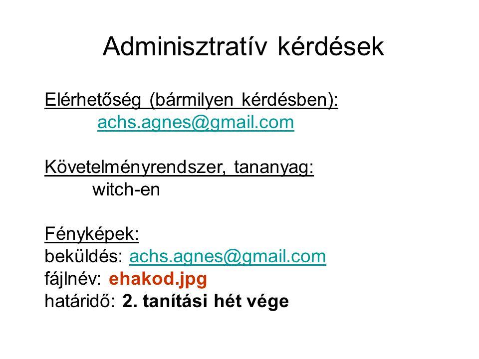 Adminisztratív kérdések Elérhetőség (bármilyen kérdésben): achs.agnes@gmail.com Követelményrendszer, tananyag: witch-en Fényképek: beküldés: achs.agne