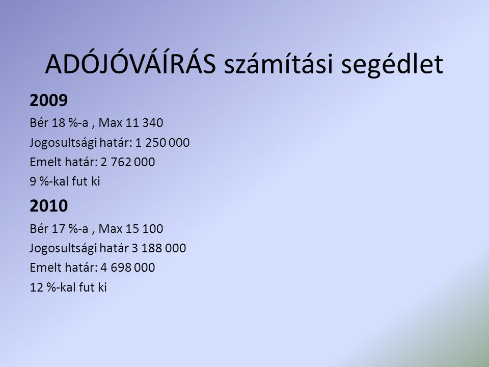 ADÓJÓVÁÍRÁS számítási segédlet 2009 Bér 18 %-a, Max 11 340 Jogosultsági határ: 1 250 000 Emelt határ: 2 762 000 9 %-kal fut ki 2010 Bér 17 %-a, Max 15