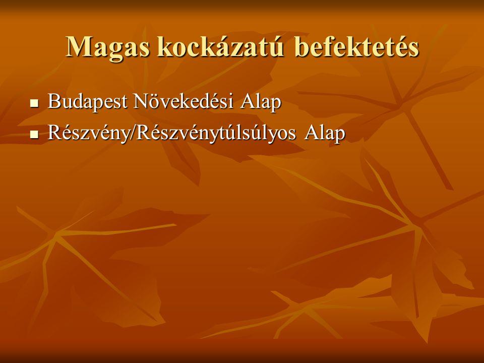 Magas kockázatú befektetés Budapest Növekedési Alap Budapest Növekedési Alap Részvény/Részvénytúlsúlyos Alap Részvény/Részvénytúlsúlyos Alap