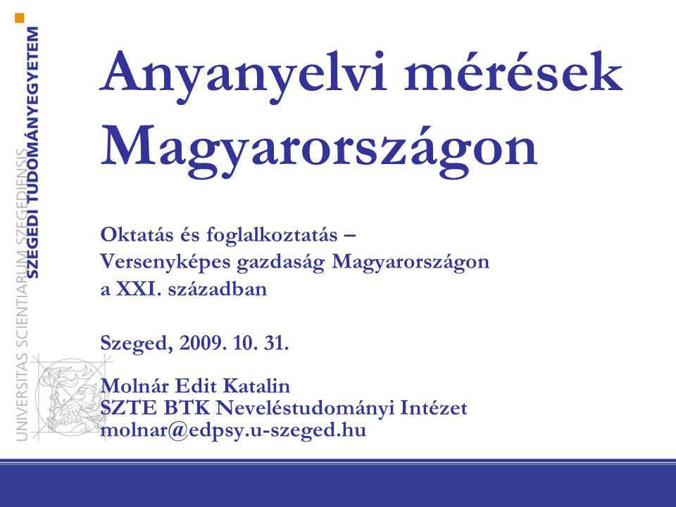 Anyanyelvi mérések Magyarországon Oktatás és foglalkoztatás – Versenyképes gazdaság Magyarországon a XXI.